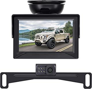 Amtifo Backup Camera Kit with 2 Video Input,HD 720P Easy Installation for Cars,Trucks,Pickups,Rear/Front View Camera Reverse/Continuous Use,Guide Lines Turn On/Off,IP69 Waterproof,