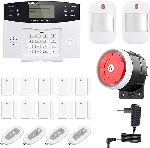 Thustand Sistema Alarma GSM Inalámbrico Control Remoto por Call/SMS - Kit Alarma Antirrobo Casa DIY con Sensor Puerta...