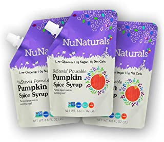 NuNaturals Pumpkin Spice Flavored Syrup, Natural Plant Based Sweetener, Sugar-Free, 3 Pack 6.6 oz
