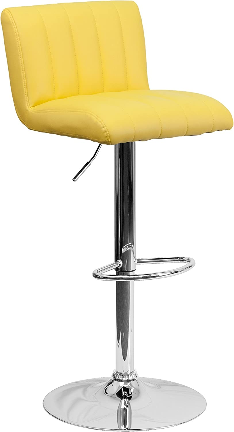 Flash Furniture Quilted Adjustable Bar Stool in Yellow
