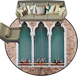 Venice,Rugs for Sale Traditional Ancient Gothic Style Windows with Flower Pots on Brick Wall D48 Print Mats Round Area Rugs Carpet