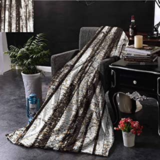 SSKJTC Grunge Brown Throw Blanket Vintage Style Tree Trunks Couch Bed Napping Reading Recliner W72 xL54