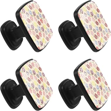 Drawer Handle Knobs for Cabinets, Wardrobes, Bedside Tables Colorful Flowers