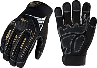Vgo 1-Pair Heavy-Duty Synthetic Leather Work Gloves, Impact Protection Mechanic Gloves,..