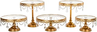 Amalfi Decor Cake Stand Set of 5 Pack, Dessert Cupcake Pastry Candy Cookie Display for Wedding Event Birthday Party, Round Metal Pedestal Holder with Glass Plates and Crystals, Gold