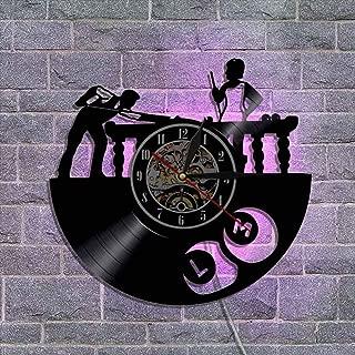 ビニールレコード壁掛け時計 レトロな郷愁 クォーツムーブメント 12'' リモコンナイトライトクロック クリエイティブウォールデコレーションギフト 常夜灯,B
