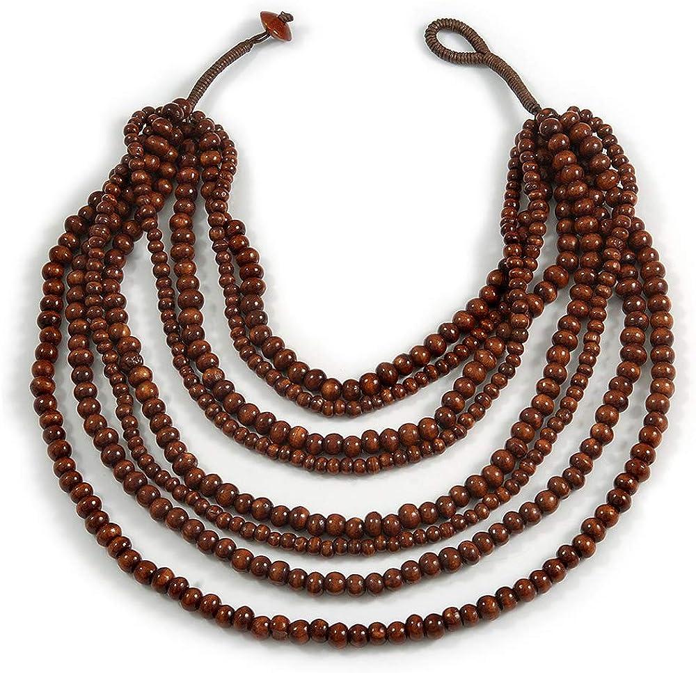 Avalaya Multistrand Layered Bib Style Wood Bead Necklace in Brown - 40cm Shortest/ 70cm Longest Strand