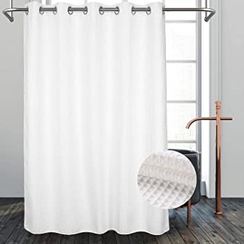 """River Dream Hotel Grade No Hooks Needed Shower Curtain with Snap in Liner,Water Repellent, Machine Washable (White, 71""""x86""""(W/Liner))"""