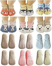 Baby Toddler Girls Grip Socks Anti Slip 1 Year Old Gift Cartoon Animal Best Non Skid Cotton Sock From Tiny Captain (Pink, Blue, Grey, Tan)
