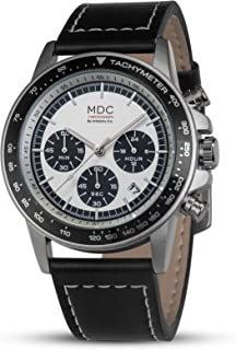 MDC Mens Brown Leather Watch Black Quartz Chronograph Wrist Watches for Men Stainless Steel Aviator Business