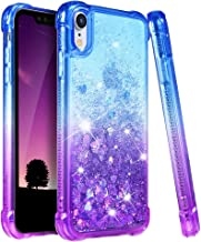 Ruky Case for iPhone XR Glitter Case, Gradient Quicksand Series TPU Bumper Cushion Reinforced Corners Protective Bling Liquid Girls Women Case for iPhone XR 6.1 inches (Blue Purple)
