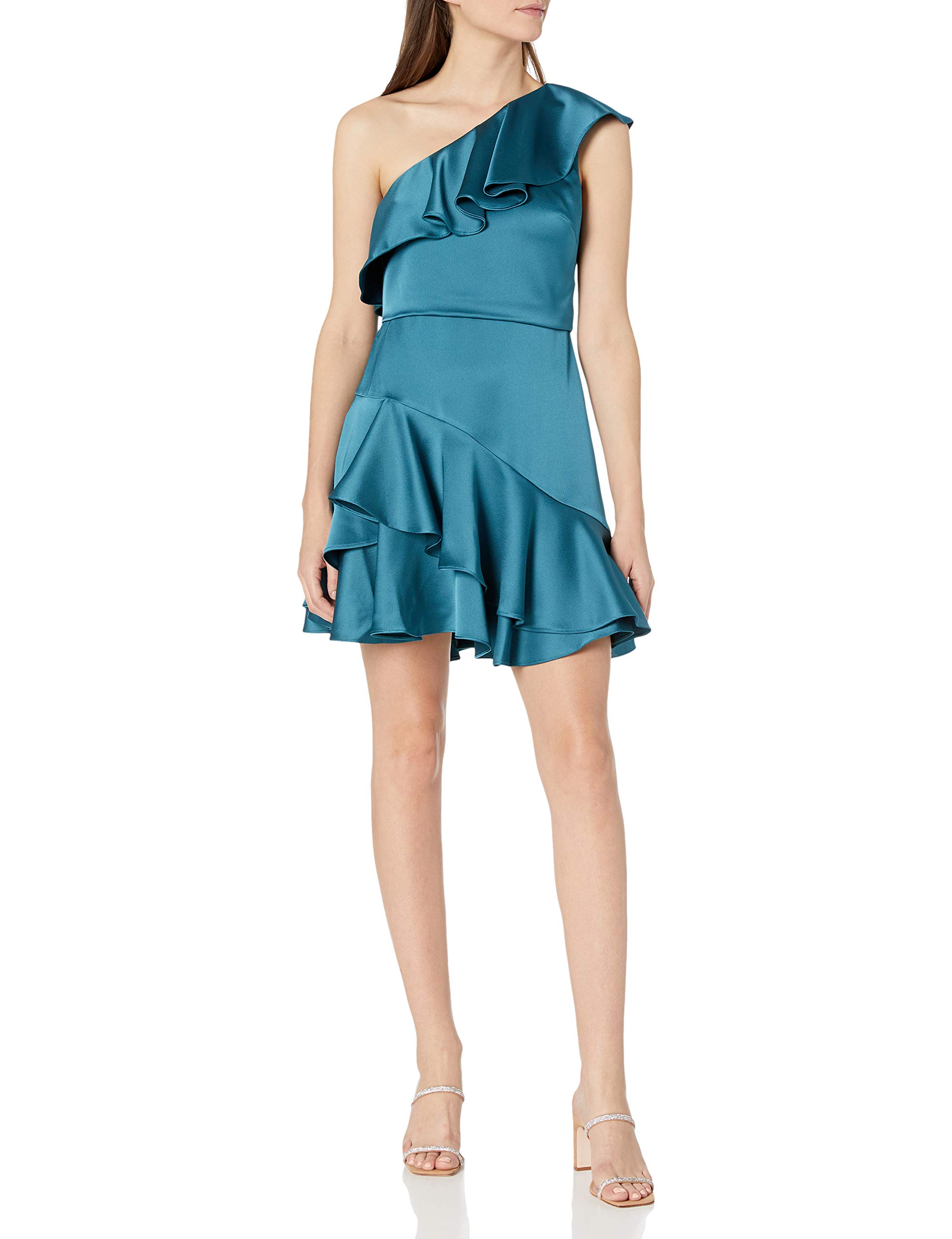 Available at Amazon: Halston Heritage Women's One Shoulder Flounce Dress
