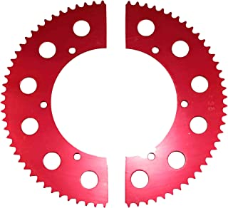 Go Kart Racing Sprocket - Aluminum 2-piece - For Use with #35 Chain (69, Red)