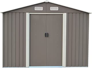 DOIT 8'x10' Outdoor Metal Steel Low Gable Storage Shed with Floor Frame Foundation Base Gray Tool Utility for Garden Backyard Lawn