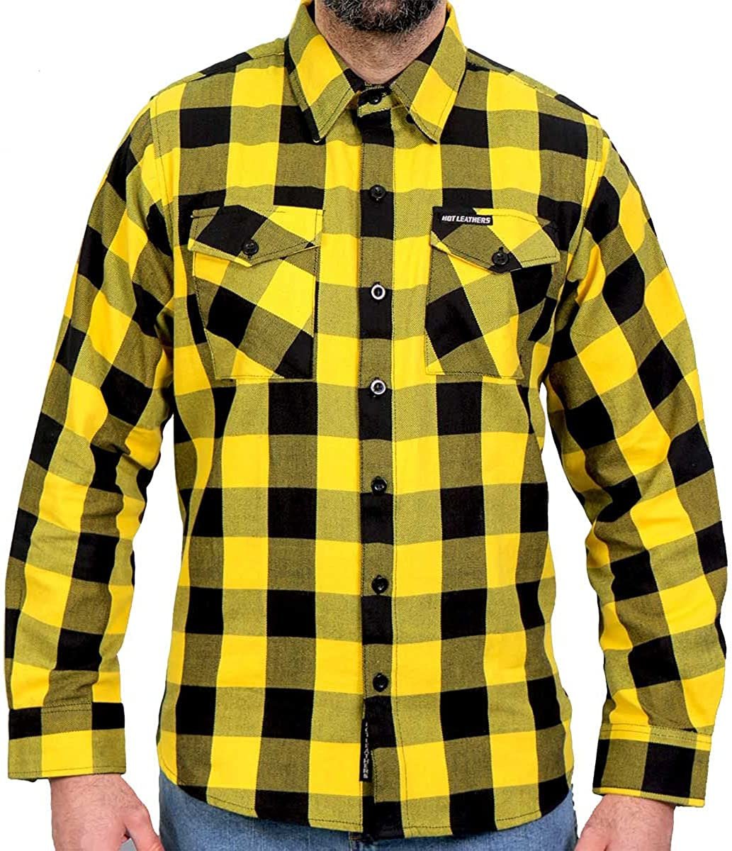 Hot Leathers FLM2014 Men's 'Gold and Black' Flannel Long Sleeve Shirt