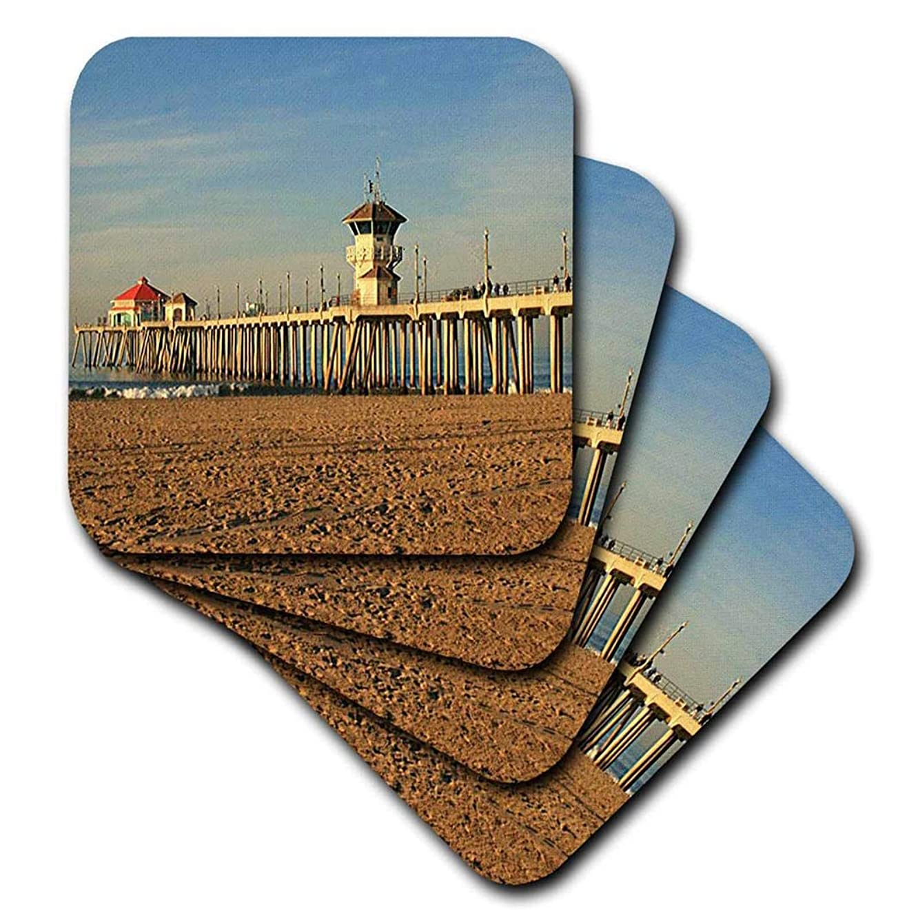 3dRose Huntington Beach Pier-Soft Coasters, Set of 4 (CST_26245_1)