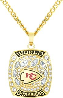 NFL Replica 2019 Kansas City Chiefs Super Bowl Championship Necklace Pendant Collectible Gift for Fans