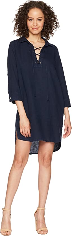 Allen Allen 3/4 Sleeve Tie Front Dress