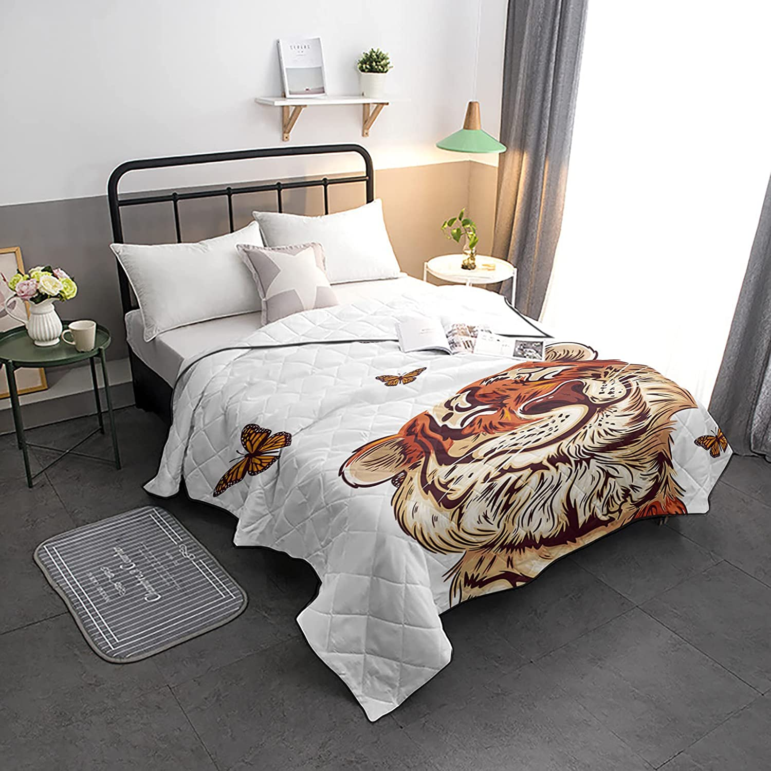 Down Free shipping Special Campaign Alternative Comforter Funny Tiger Butterfly Animal Cartoon