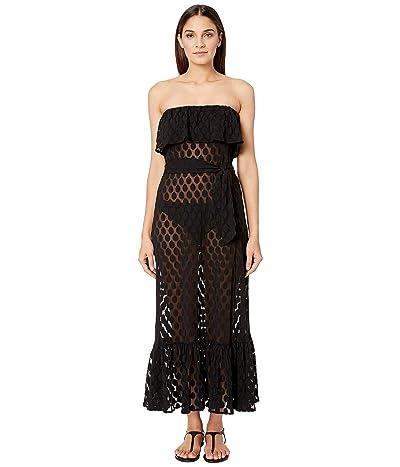FUZZI Polka Dot Tulle Print Swim Cover Dress (Nero) Women