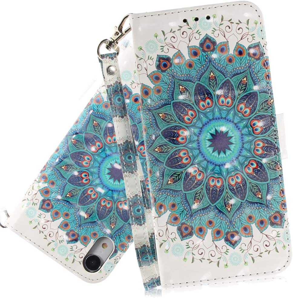 ISADENSER iPhone XR Case Cover for Girly Women [Wallet Stand] Cute Stylish Kickstand Credit Cards Slot Cash Pockets PU Leather Flip Wallet Case for iPhone XR 6.1 Inch 3D Peacock Blue TX