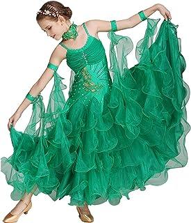 Q-JIU Ropa De Baile para Niños Vestidos Rendimiento Licra Tul Apliques Cristales/Rhinestones Sin Mangas Cintura Media Vest...