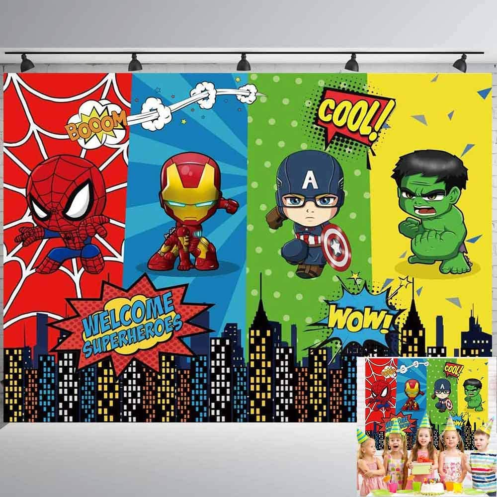 Superhero Photo Backdrop | For Boy | Birthday | Baby Shower | Party Banner | Super City | Spiderman | Background | Photography