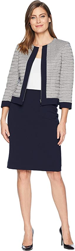 Boucle Jacket with Contrast Trim Skirt Suit