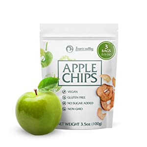 Apple Chips Natural Crisps Pouches - [3 Packs] Dried Fruit Snack No Sugar - Crunchy Slices - Bare Baked - Vegan Crispy Apple Chips