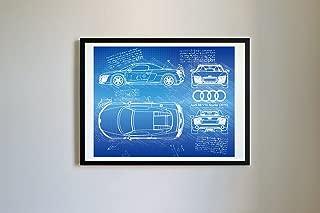 DolanPaperCo #111 Audi R8 V10 Spyder 2012-16 Art Print, da Vinci Sketch - Unframed - Multiple Size/Color Options (16x20, Blueprint)
