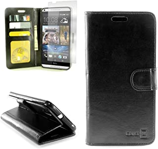 HTC Desire 816 Premium Synthetic Leather Wallet Phone Case and Screen Protector   CoverON [Executive Pouch Series]   Durable Smooth Feel (Black) Flip Stand Cover with Credit Card and Cash Holder Slots for HTC Desire 816