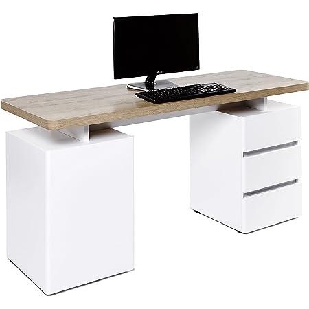 Marque Amazon -Movian Skadar - Bureau à 1 porte et 3 tiroirs, 150x55x76cm, Finition chêne Riviera/blanc mat