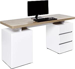 """Movian, scrivania con 3 cassetti e sportello, colore bianco / quercia """"Riviera"""""""