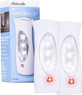 Amerelle Emergency Lights For Home by Amertac, 2 Pack - Plug-In Emergency Preparedness Power Failure Light and Flashlight, Automatically Lights When the Power Fails - Portable, Rechargeable - 71134CC