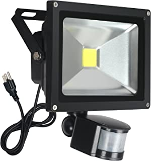 FAISHILAN Motion Sensor Flood Light 20W LED IP65 Waterproof Security Lights 6000K, 1600 Lumen, US 3-Plug Outdoor Wall Light