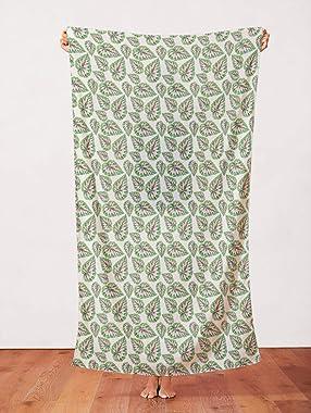 PBS Fabrics Modern Botanicals Organic Double Gauze Jungle Peach, Green