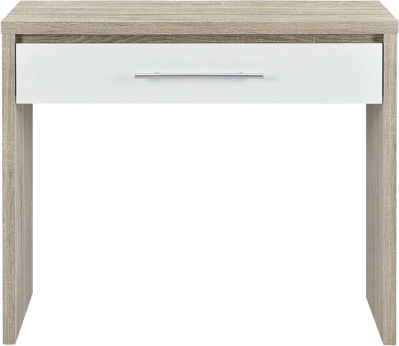 [en.casa] Schreibtisch (90 x 39 x 77 cm) furniert (Eiche) Schublade (wei - Hochglanz - Klavierlack) Griff in Edelstahl Optik