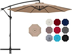 Best Choice Products 10ft Offset Hanging Market Patio Umbrella w/Easy Tilt Adjustment, Polyester Shade, 8 Ribs for Backyard, Poolside, Lawn and Garden - Tan