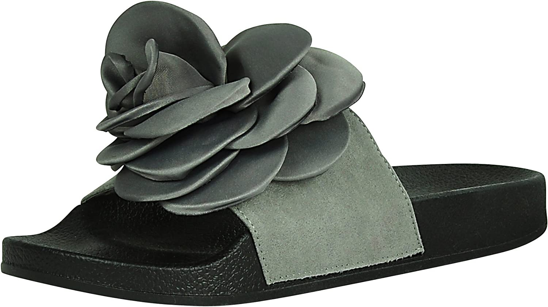 Cambridge Select Women's Flower pink Mixed Media Open Toe Slip-On Flat Slide Sandal