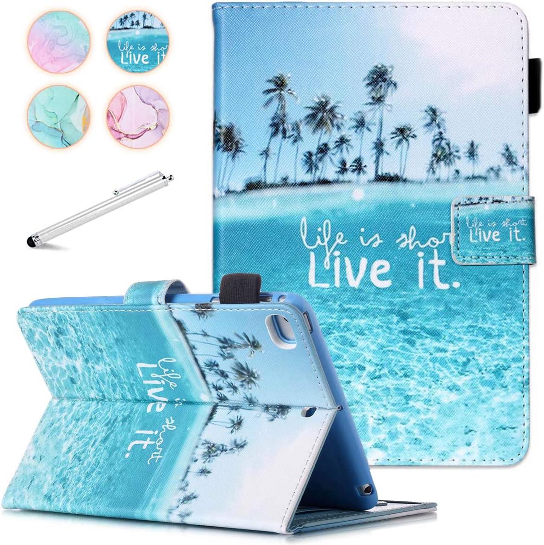 iPad Mini Case, FANCITY Mini 4 Mini 5 Mini 3/2/1 Smart Wake Sleep Case with Kickstand [Card Slot & Pen Holder] PU Leather Protective Cover for Apple iPad Mini 4 Mini 5 2019, Mini 2/3 - Beach
