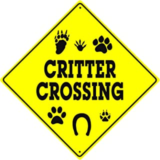 Caution Critter Crossing Xing Animals Danger Hunter Safety Funny Novelty Road Wall Décor Diamond Metal Aluminum 12