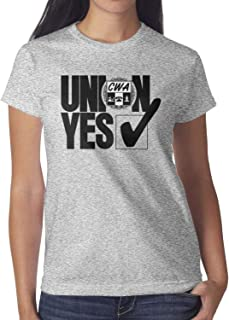 Union YES CWA T-Shirt Classic 100% Cotton Short Sleeve Tees for Women