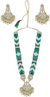 Zaveri Pearls Green Beads Long Bridal Kundan Necklace & Earring Set For Women-ZPFK10479