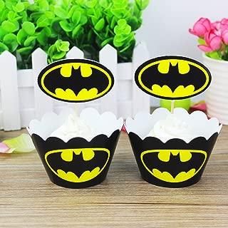 Batman Cupcake Wrapper Topper Kit Set of 1 Dozen