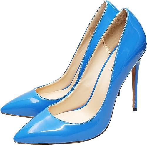DYF Chaussures Femmes Talon Haut Extra Fines de Couleur Solide Taille Grande Bouche Peu Profondes de la mer,Bleu,45