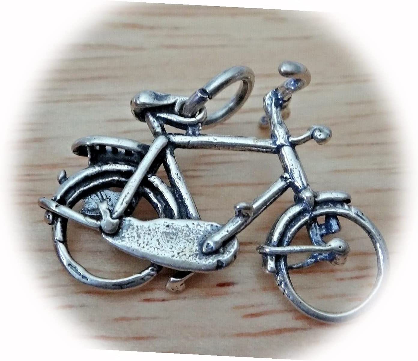 New Sterling Silver 3D 27x19mm Direct store Detailed Large 10 Seattle Mall Char Speed Bike