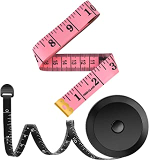 2 Pack Tape Measure Measuring Tape for Body Sewing Tailor Cloth Fabric Craft Weight Loss Measurements, 60-Inch Soft Fashion Pink & Retractable Black Tape Measure Body Measuring Tape Set
