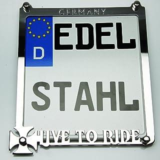 Exklusive Motorrad Kennzeichenhalter Edelstahl Hochglanz poliert LIVE to Ride Germany