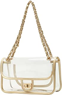 Lam Gallery Womens PVC Clear Purse Handbags for Working NFL Stadium Approved Bag Turn Lock Chain Shoulder Bag