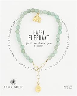 Dogeared - Gem Bracelet, Happy Elephant, Happy Elephant Charm, Green Adventurine Bead